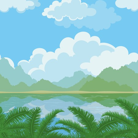 mountain view: Exotic horizontal seamless landscape, sea, palm branches, mountains and cloudy sky.