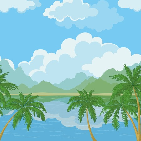 mountain view: Exotic horizontal seamless landscape, sea, palm trees, mountains and cloudy sky.  Illustration
