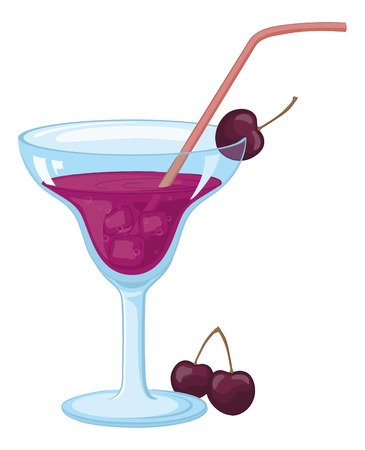tubule: Blue transparent glass with a purple drink, cold ice, cherry berries and straw.