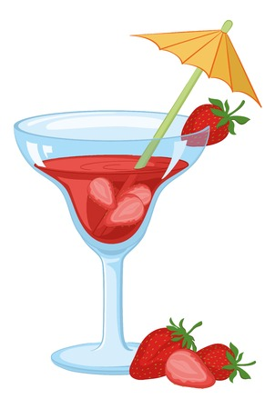 tipple: Blue transparent glass with a red drink, strawberries berries and straw with