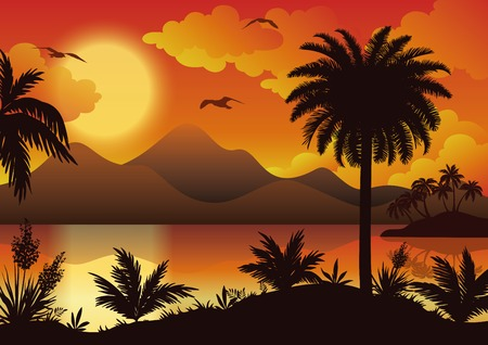sea gull: Tropical landscape, sea islands with palm trees, flowers, mountain, clouds, sun and birds gulls