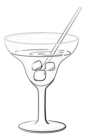 ice cubes: Transparent glass with drink, ice cubes and straw, black contours isolated on white background.