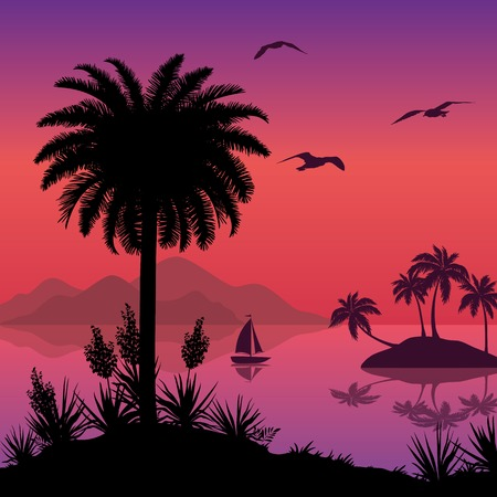 mew: Tropical sea landscape, black silhouettes islands with palm trees and flowers, ship and birds gulls  Eps10, contains transparencies  Vector Illustration