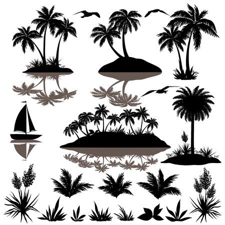 Conjunto tropical, isla de mar con palmeras, plantas, flores, pájaros, gaviotas y barco siluetas negras sobre fondo blanco Vector