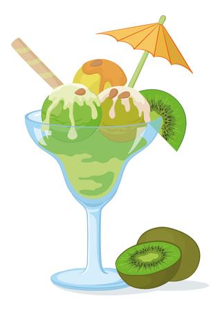 kiwi fruta: Vidrio transparente azul con un helado verde, kiwi, frutos secos y la oblea
