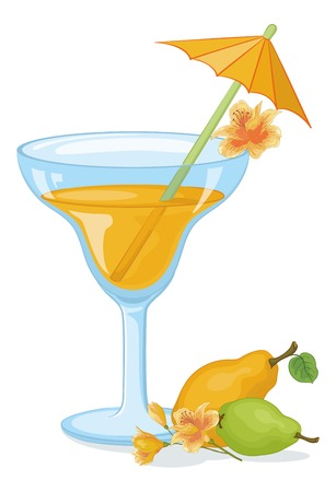 tipple: Blue transparent glass with drink, fruits pear and apple, alstroemeria flowers and straw with umbrella   Illustration