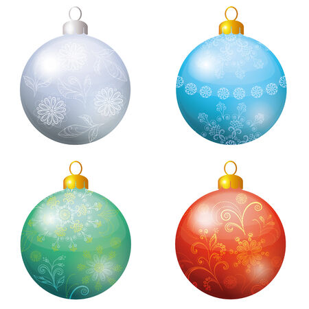 four objects: Christmas holiday decoration, set of balls with a floral pattern