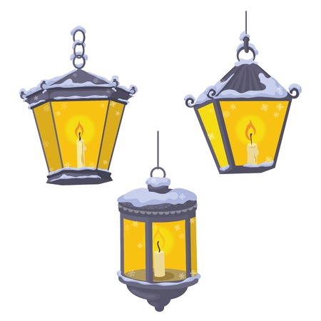 Set vintage street lights lanterns which burning candles in the snow Vector
