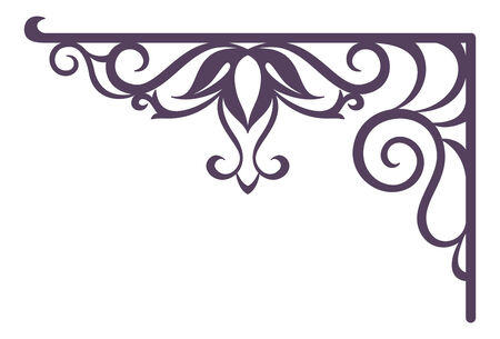 wrought iron: Decorative vintage forged bracket for street signboard, silhouette isolated on white background  Vector