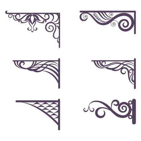 セット装飾的なヴィンテージ鍛造ブラケット通りの看板を白い背景ベクトルで分離されたシルエット