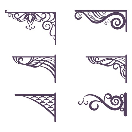 Set decorative vintage forged brackets for street signboard, silhouettes isolated on white background  Vector