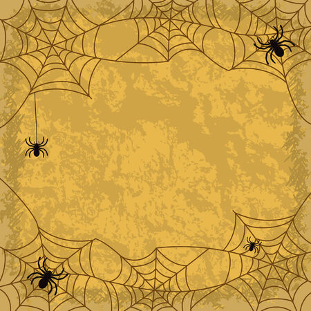 terribly: Holiday Halloween background, spiders, cobwebs and wall texture  Vector