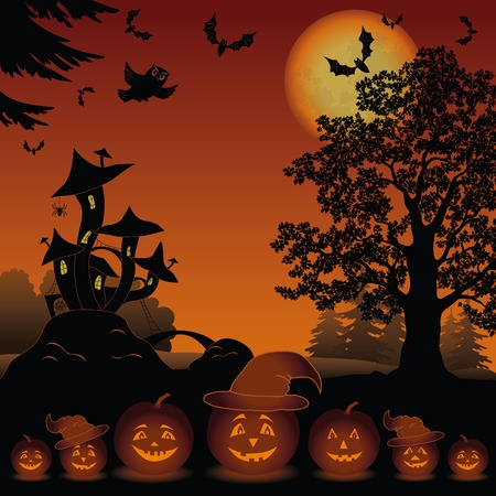 Halloween cartoon landscape with pumpkins Jack-o-lantern, moon, magic Castle - mushroom, owl, trees and bats  Element of this image furnished by NASA  www visibleearth nasa gov   Vector Vector