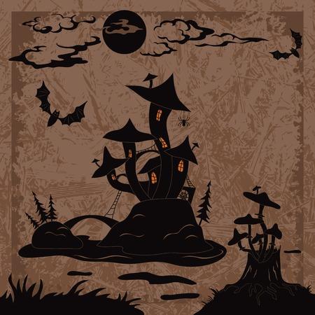 champignon magique: Paysage de vacances Halloween avec le ch�teau magique de champignons sur l'�le de marais, la lune, les souches de champignons et les chauves-souris, silhouette noire sur fond abstrait
