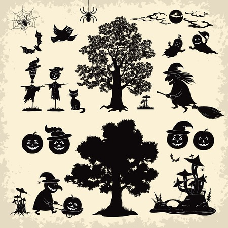 Set of cartoon objects and subjects for the holiday Halloween design, trees, animals and characters, pumpkins, witch, ghosts and other black silhouettes  Vector Vector
