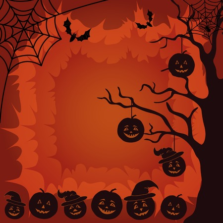 terribly: Halloween cartoon landscape with pumpkins Jack-o-lantern, trees, spider, web and bats silhouettes  Vector