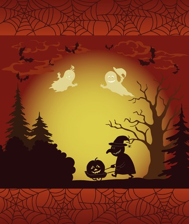 pumpkin border: Halloween cartoon landscape with silhouettes of trees, ghosts, witch with a cart, pumpkins, bats and frame with spider web  Vector