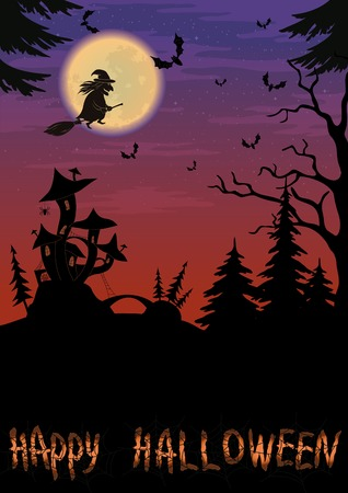 Holiday Halloween night landscape with witch and magic Castle  Vector