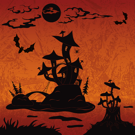 Holiday Halloween landscape with magic mushroom castle on the marsh island, moon, stump with toadstools and bats, black silhouette on abstract background  Vector Vector