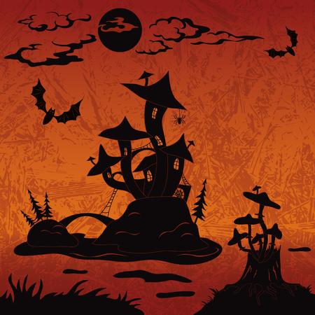 champignon magique: Paysage de vacances de Halloween avec le ch�teau magique de champignon sur l'�le de marais, de la lune, souche avec des champignons et des chauves-souris, silhouette noire sur fond abstrait vecteur