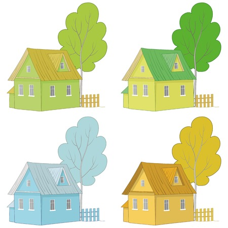 dacha: Set cartoon colorful houses and trees isolated on white background  Vector