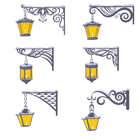 luminescent: Set vintage street luminescent lanterns covered with snow, hanging on a decorative brackets isolated on white background  Vector