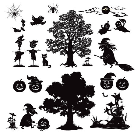 Set of cartoon objects and subjects for the holiday Halloween design, trees, animals and characters, pumpkins, witch, ghosts and other black silhouettes isolated on white background photo