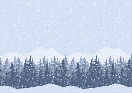 coniferous forest: Seamless horizontal paisaje de montaña de invierno con los árboles y la nieve del abeto, vector siluetea Vectores