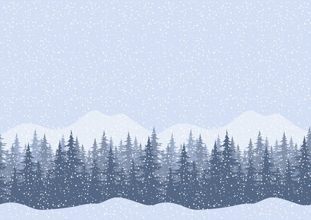 Seamless horizontal winter mountain landscape with fir trees and snow, silhouettes  Vector Çizim
