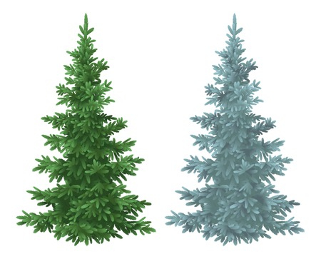 Green and blue Christmas spruce fir trees isolated on white background