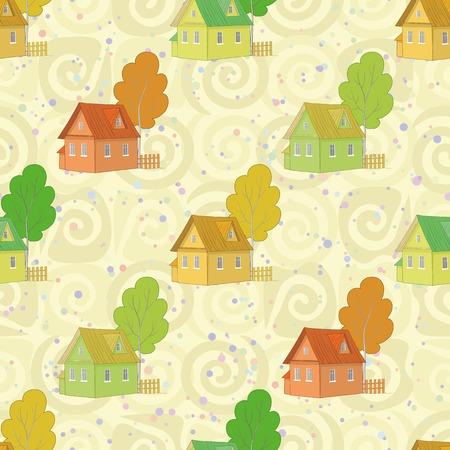 datcha: Seamless, des maisons et des arbres de bande dessin�e color� sur fond abstrait