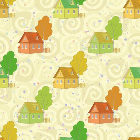 dacha: Seamless pattern, cartoon colorful houses and trees on abstract background