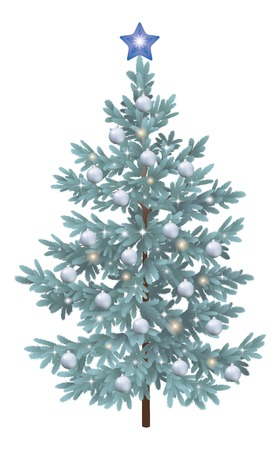 christmastide: Christmas holiday spruce fir tree with ornaments, balls and stars, isolated on white background