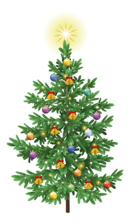Christmas holiday spruce fir tree with ornaments, balls, bells and stars isolated on white background   Vector