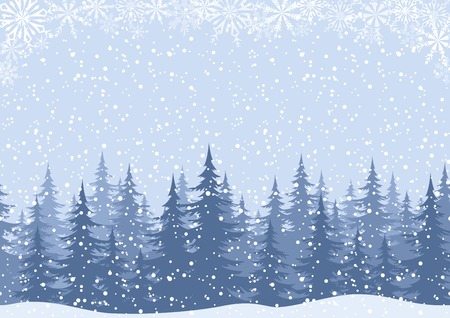 Winter woodland landscape with spruce fir trees and snowflakes, white and blue silhouettes  Vector Illustration