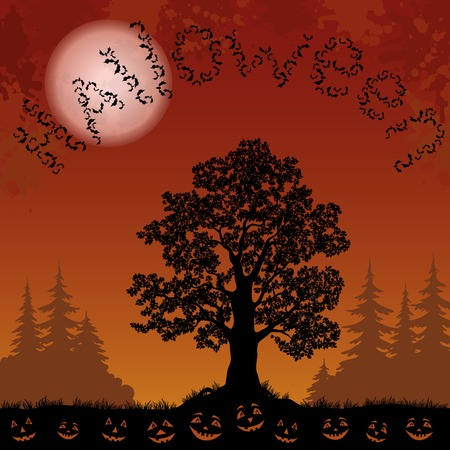 oak tree silhouette: Halloween landscape with the inscription of bats, trees silhouettes, moon and pumpkins