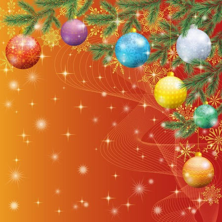x mas: Christmas holiday design, spruce branches, balls and stars   Illustration