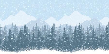coniferous forest: Seamless horizontal paisaje de montaña de invierno con abetos y la nieve