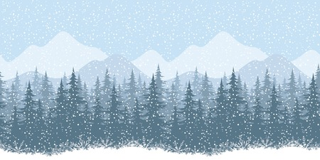 coniferous forest: Seamless horizontal winter mountain landscape with fir trees and snow