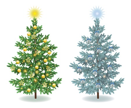 x mas: Christmas holiday spruce fir trees with ornaments