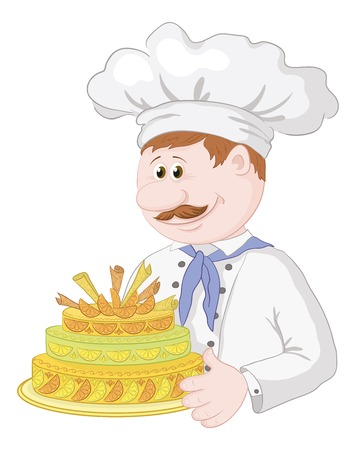 Cartoon cook chef with sweet holiday cake isolated on white background. Vector Vector