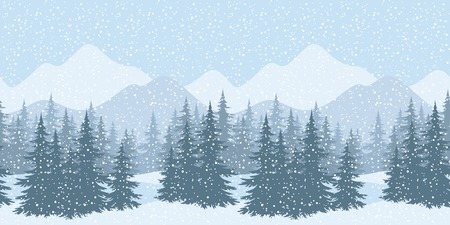 Seamless horizontal winter mountain landscape with fir trees and snow, silhouettes.  Illustration