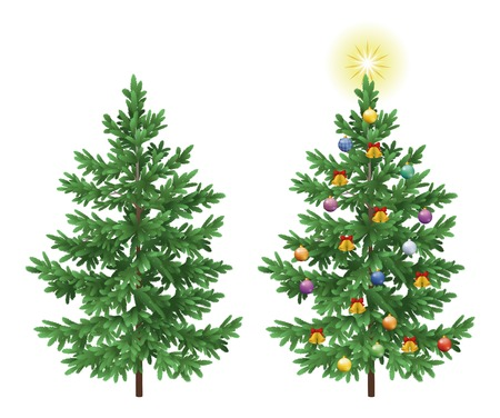 pine needles: Christmas holiday spruce fir trees with ornaments, balls, bells and stars isolated on white background Illustration