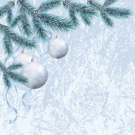 firtree: Background for Christmas holiday design, spruce branches and balls with snowflakes.