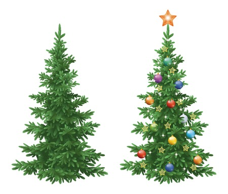 christmastide: Christmas holiday spruce fir trees, natural and with ornaments, colorful balls and golden stars isolated on white background. Eps10, contains transparencies. Vector