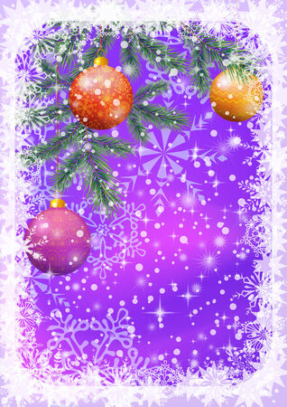 pine decoration: Background for Christmas holiday design, balls, snowflakes and stars. Eps10, contains transparencies. Vector