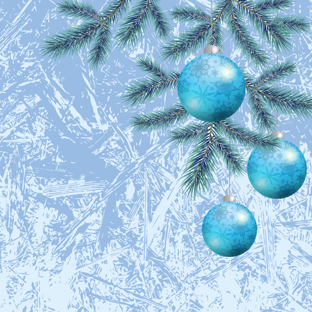 eps10: Background for Christmas holiday design, spruce branches and balls with snowflakes. Eps10, contains transparencies. Vector Illustration