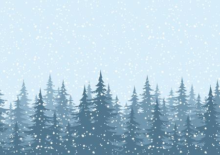 Seamless horizontální pozadí, vánoční dovolená stromy proti modré obloze se sněhem. Vektor Ilustrace
