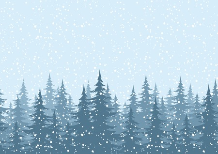Seamless horizontal background, Christmas holiday trees against the blue sky with snow. Vector Çizim