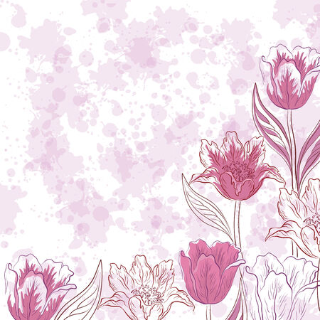Floral pattern, flowers tulips contours and silhouettes on abstract background with blots. Eps10, contains transparencies. Vector Vector
